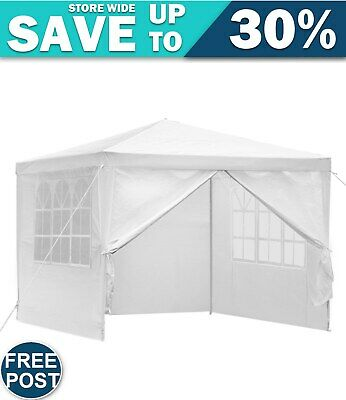 AU64.63 • Buy Gazebo 3x3m Outdoor Marquee Side Wall Party Wedding Tent Camping White 4 Panel