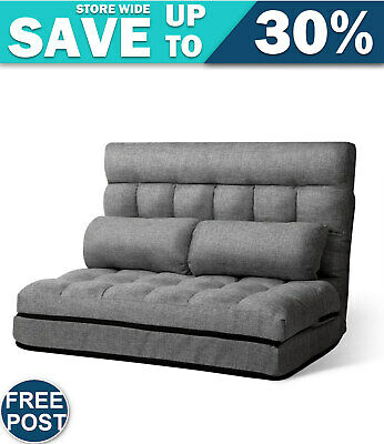 AU140.87 • Buy Artiss Lounge Sofa Bed 2-seater Floor Folding Fabric Grey