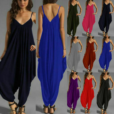 Womens Casual Jumpsuit Ali Baba Harem Baggy Playsuit Long Ankle Cami Strrpy  • 10.49£