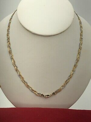"""£608.49 • Buy 14k Tricolor Gold Braided Herringbone Chain Necklace 18.5"""""""