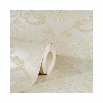 AS Creation Omega Damask Cream And Beige Glitter Wallpaper 34860-1  • 14.95£