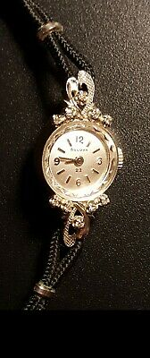 Vintage BULOVA 14K Solid White Gold With 10 Diamonds Ladies Cocktail Watch • 449$
