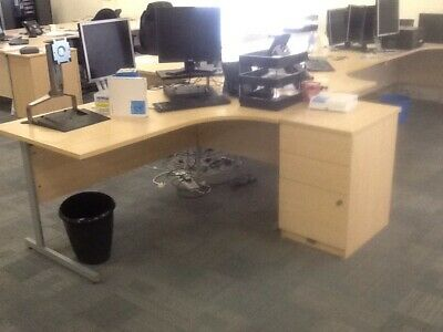 £75 • Buy Right Hand Beech Laminate Radial Desk And Pedestal