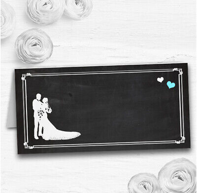 £34.89 • Buy Chalkboard Aqua Wedding Table Seating Name Place Cards