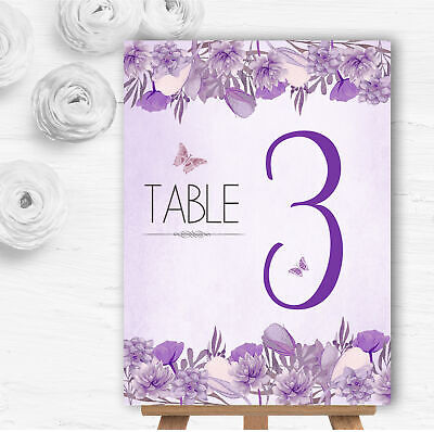 £3.49 • Buy Cadbury Purple & Lilac Watercolour Floral Wedding Table Number Name Cards