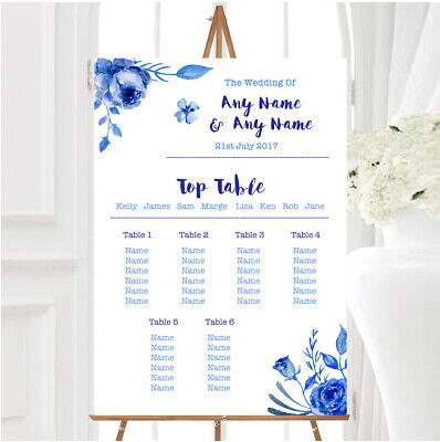 £29.89 • Buy Blue & White Watercolour Floral Personalised Wedding Seating Table Plan