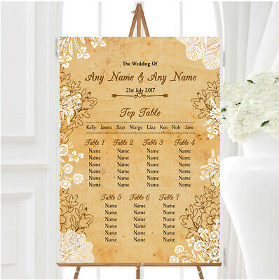 £29.89 • Buy Shabby Chic Rustic Vintage Lace Personalised Wedding Seating Table Plan