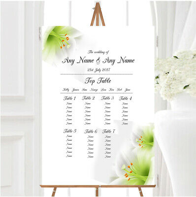 £29.89 • Buy Subtle White Lily Flower Personalised Wedding Seating Table Plan