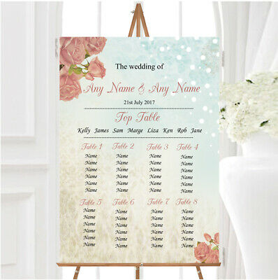 £29.89 • Buy Shabby Chic Vintage Floral Classic Light Personalised Wedding Seating Table Plan