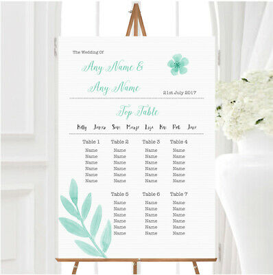 £29.89 • Buy Watercolour Subtle Teal Mint Green Personalised Wedding Seating Table Plan