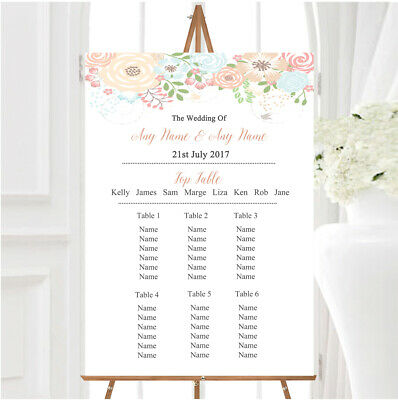 £29.89 • Buy Coral Peach & Blue Watercolour Floral Header Wedding Seating Table Plan