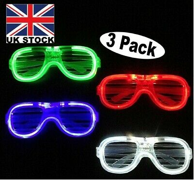 (3 Pack)LED Glasses Flashing & Light-Up Shades For Parties,Festivals,Celebration • 6.58£