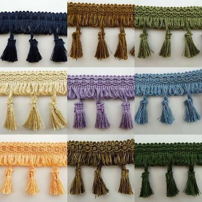 9 COLOUR 75mm Tassel Upholstery Fringe Costume Lampshade Edging BUY 1 2 4m+ • 4£
