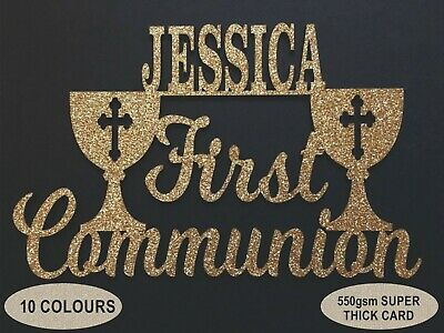 First Holy Communion Glitter Cake Topper 550gsm Card Decoration Any Name • 4.08£