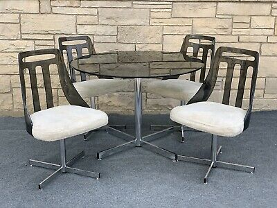 $899.99 • Buy Mid Century Modern Brody Seating Co. Smoke Lucite & Chrome Dining Table 4 Chairs