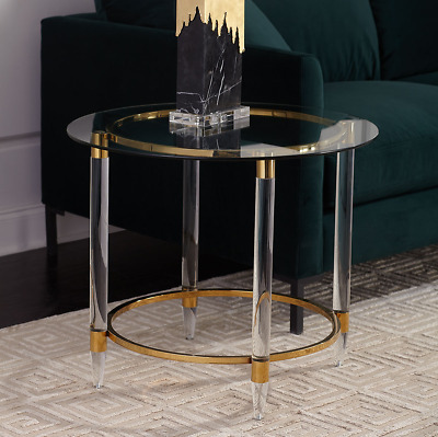 $788.40 • Buy Modern Acrylic Lucite Brass Glass Round Side End Table Jacques Style Mid Century
