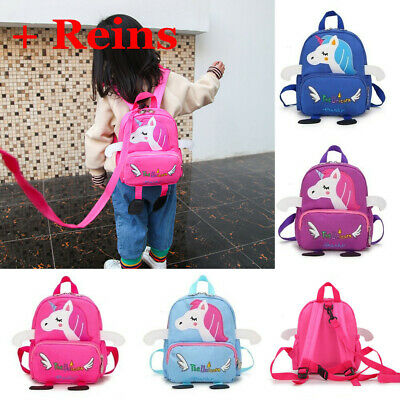 Cartoon Baby Toddler Kids Unicorn Safety Harness Strap Bag Backpack With Reins • 9.69£