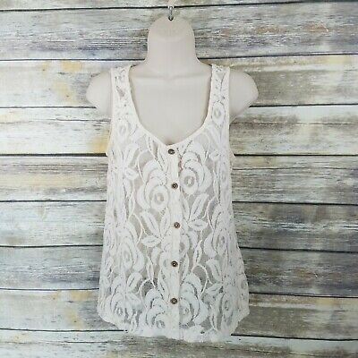 $16.09 • Buy Sans Souci Size M Ivory Cream Lace Tank Top Sheer Cami Button Neckline Womens
