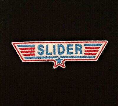 £3.60 • Buy Slider Red / Blue Top Gun Embroidered Patch, Badge Iron On Or Sew On