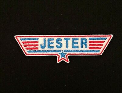 £3.60 • Buy Jester Red / Blue Top Gun Embroidered Patch, Badge Iron On Or Sew On