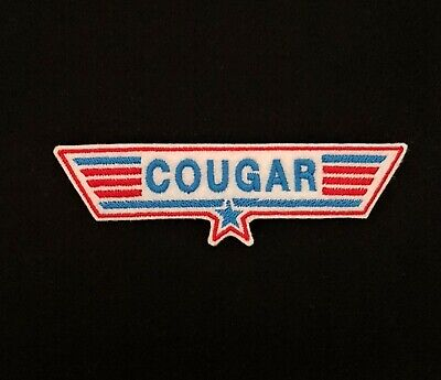 £3.60 • Buy Cougar Red / Blue Top Gun Embroidered Patch, Badge Iron On Or Sew On