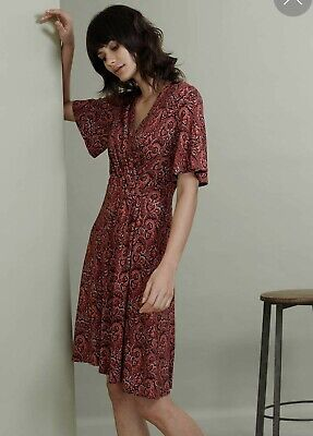 Brora Hibiscus Paisley Liberty Print Red Cotton Wrap  Dress Size 10 Rrp£159 • 49.99£