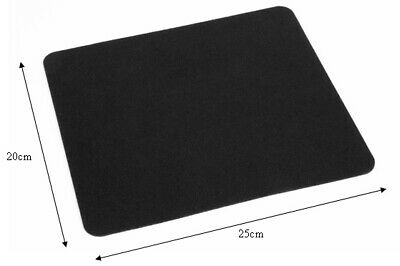 5mm PLAIN BLACK FABRIC MOUSE PAD MAT 25cm X 22cm FOAM PC DESKTOP COMPUTER LAPTOP • 2.49£