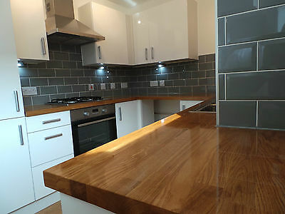 Prime Solid Oak Kitchen Wood Worktops,40mm Staves, Breakfast Bars,Timber, Wooden • 65£