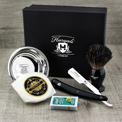 Barber Style Shaving Gift Set 4 Piece Kit Half Blade Cut Throat Razor & Brush • 26.55£