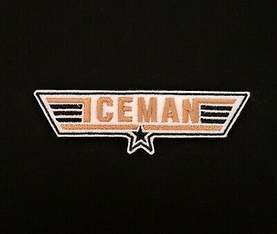 £3.60 • Buy Iceman Top Gun Embroidered Patch, Badge Gold Iron On Or Sew On