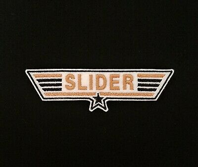 £3.60 • Buy Slider Top Gun Embroidered Patch, Badge Gold Iron On Or Sew On