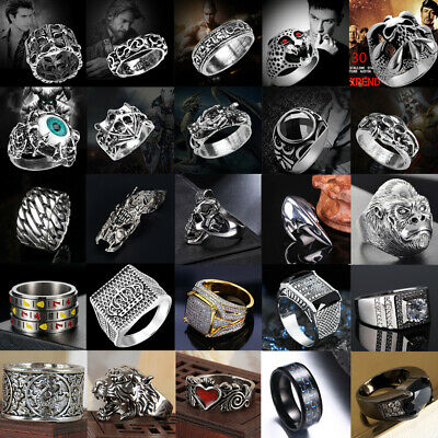 AU3.98 • Buy Men's Women Stainless Steel Silver Gothic Punk Rings Charm Finger Biker Ring Lot