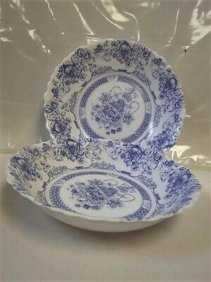 Set Of 2 Arcopal Honorine Scalloped 7 1/4  Bowls Blue Floral Made In France • 9$