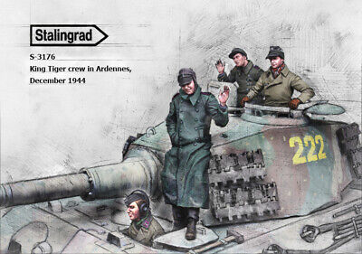 1/35 Scale Resin Figure Kit WW2 King Tiger Crew In Ardennes, December 1944 • 45.99£