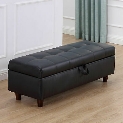 HOMCOM Ottoman Storage Bench Stool For Bed-end Hallway In PU Leather - Black • 94.99£