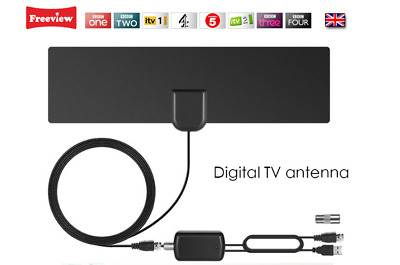 UK Freeview Digital TV Indoor Aerial DVB-T TV With USB Signal Booster/Amplifier • 11.99£