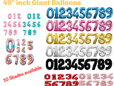40  Giant Foil Number Self Inflating Balloons Birthday Age Party Wedding Baloon • 1.95£