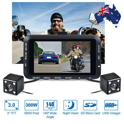 AU79.99 • Buy HD 1080p 3.0  Motorcycle DVR Dash Cam Front + Rear View Camera Driving Recorder