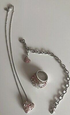 GENUINE Swarovski Crystal Pink Jewellery Diamanté Set. Great Condition. • 50£