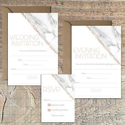 £3.99 • Buy Wedding Invitations Blank Rose Gold And Marble Print Effect Packs Of 10