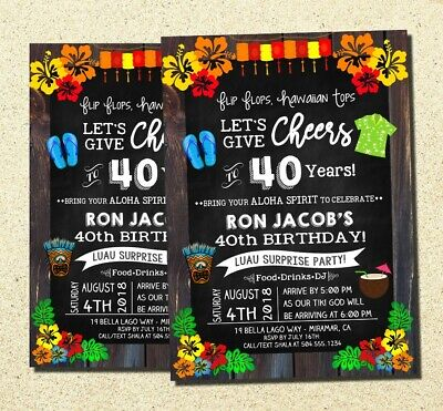 Luau Invitation, Luau Birthday Invitations, Hawaiian Party Invitations, DIGITAL • 7.08£