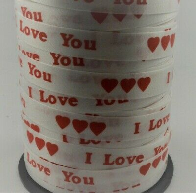 White Curling Ribbon, Red I Love You Print 10mm  X 5m, 10m Length OR 100M Roll • 1.10£