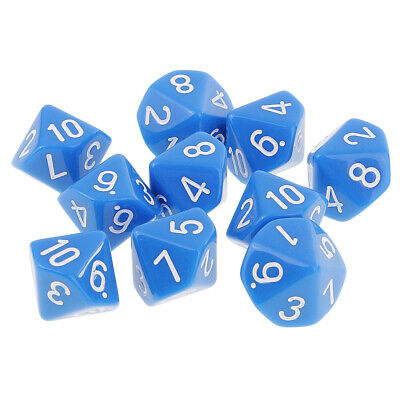 AU9.54 • Buy 10 Sided Dice D10 Polyhedral Dice For  Games Blue