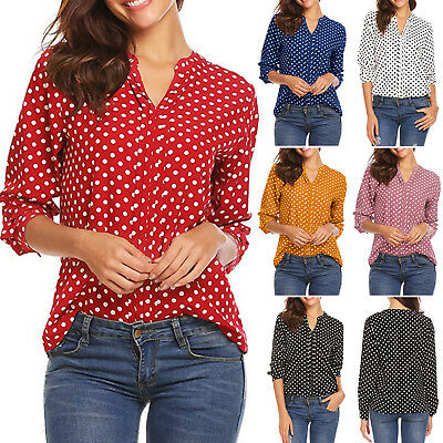 AU14.05 • Buy Womens Long Sleeve Pullover T-Shirt Polka Dot Loose Casual Tops Blouse Plus Size