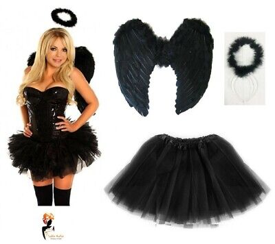 £12.39 • Buy Dark Angel Fairy Feather Wings Halo Fancy Dress Costume Hen Party BLACK Outfit