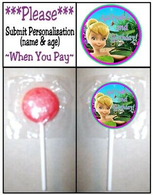 £3.62 • Buy 24 Tinkerbell Birthday Party Baby Shower Round Lollipop Stickers Fairy Princess