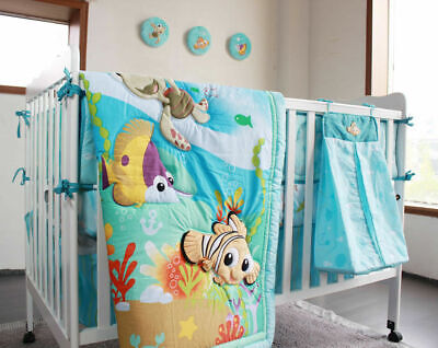 $79.99 • Buy 8pcs Baby Crib Bedding Set Blue Ocean Bed Linen Cotton Baby Cot Sets With Bumper