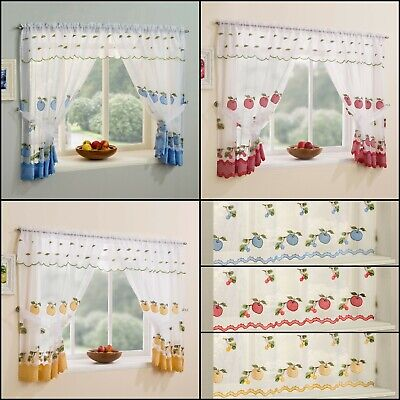 £8.95 • Buy Kitchen Window Net Curtains Set With Apple & Cherry Embroidery & Gingham Trim
