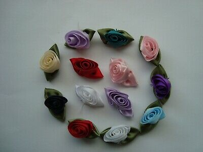 LARGE Satin Ribbon Rose Buds - Various Colours -  Embellishment Craft Sewing • 3.75£