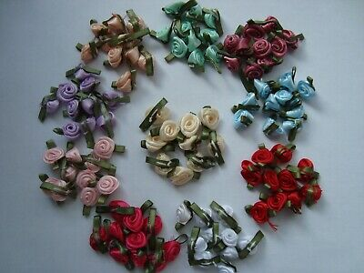 SMALL SATIN RIBBON ROSE BUDS FLOWERS Various Colours, 10,20,50,100 • 2.98£